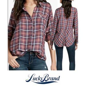 Lucky Brand Pink Blue Plaid Button Down Back Shirt